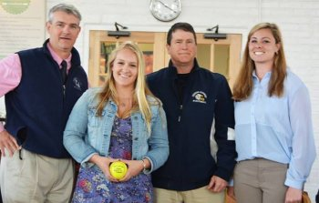 Emma Gailey '14 pictured with Athletic Director Brett Torrey, Head Coach Samantha Cieri, and Assistant Coach Mike Greene